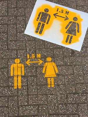 Distance floor stencils