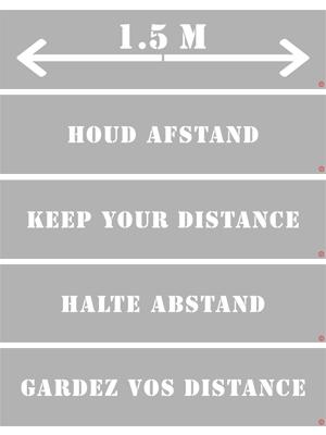Design distance floor stencils different language