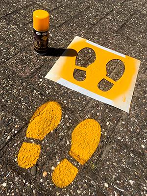 Floor stencils footsteps